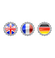 bottle cap flags set vector image vector image