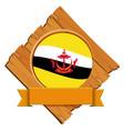brunei flag on wooden board vector image vector image