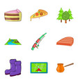 camping trip icons set cartoon style vector image vector image
