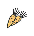 carrot vegetable flat color line icon vector image