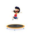 cartoon girl jumping on trampoline vector image