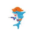 cartoon pirate shark holding a gun funny sea vector image