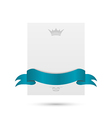 Celebration card with blue ribbon and crown vector image