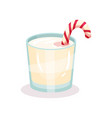 christmas milk drink with candy cane vector image vector image
