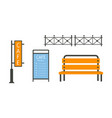 city street elements set fence bench cafe vector image vector image