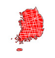 colored south korea map vector image vector image
