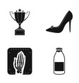 cup female shoes and other web icon in black vector image vector image