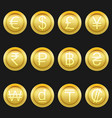 currency coins symbols icons metallic golden set vector image