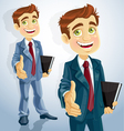 cute businessman gives his hand to greet vector image vector image