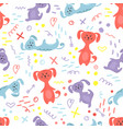 cute seamless pattern with dogs and doodles vector image vector image