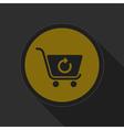 dark gray and yellow icon - shopping cart refresh vector image