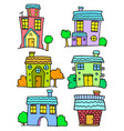 doodle of house set colorful art vector image vector image