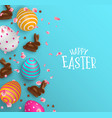 easter card of 3d chocolate bunny and color eggs vector image vector image