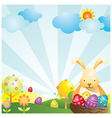 easter with bunny and eggs background vector image vector image