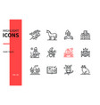 fairy tales concept - line design style icons set vector image