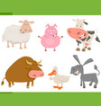 farm animal characters set vector image vector image