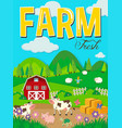 farm scene with animals and barn vector image vector image