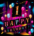 first happy birthday color card vector image