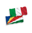 flags italy and seychelles on a white vector image