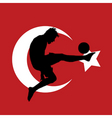 football player with Turkish flag vector image vector image