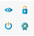 Four Colorful flat social icons set on White vector image vector image