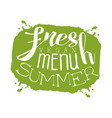 fresh summer menu green label vector image