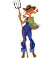 Girl shepherdess with agricultural implements vector image vector image