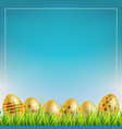 golden easter eggs on a grass easter sale vector image vector image