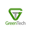green tech triangle initial letter gt tg logo vector image vector image