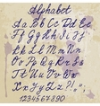 hand-written alphabet on old paper with blots vector image vector image