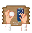 hands with smartphone and social media icons in vector image