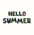 hello summer - fun hand drawn poster vector image