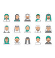 islam linear avatars arabian muslim saudi male vector image