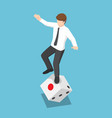 isometric businessman try to standing on rolling vector image vector image