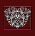 laser cutting square frame with ornamental heart vector image vector image