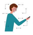 man face scan biometric digital technology vector image
