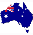 Map of Australia with national flag vector image vector image