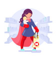 modern super hero mother shopping child in hand vector image vector image