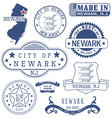 Newark city New Jersey stamps and seals vector image vector image