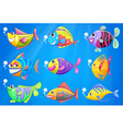 Nine colorful fishes under the sea vector image vector image