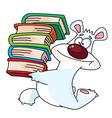 polar bear and books vector image vector image