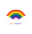 rainbow with white clouds on blank background vector image vector image