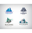 set colorful real estate logos city and vector image vector image