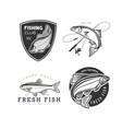 set logos on a fishing theme vector image