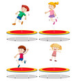 set of children playing trampoline vector image