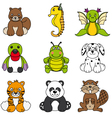 set of different cute animals vector image vector image