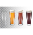 set of realistic tall beer glasses with different vector image
