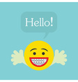 Smiley face emoticon icon with Hello speech bubble vector image vector image