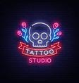 tattoo salon logo neon sign a symbol of a vector image vector image