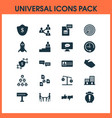 teamwork icons set with online task chat id card vector image